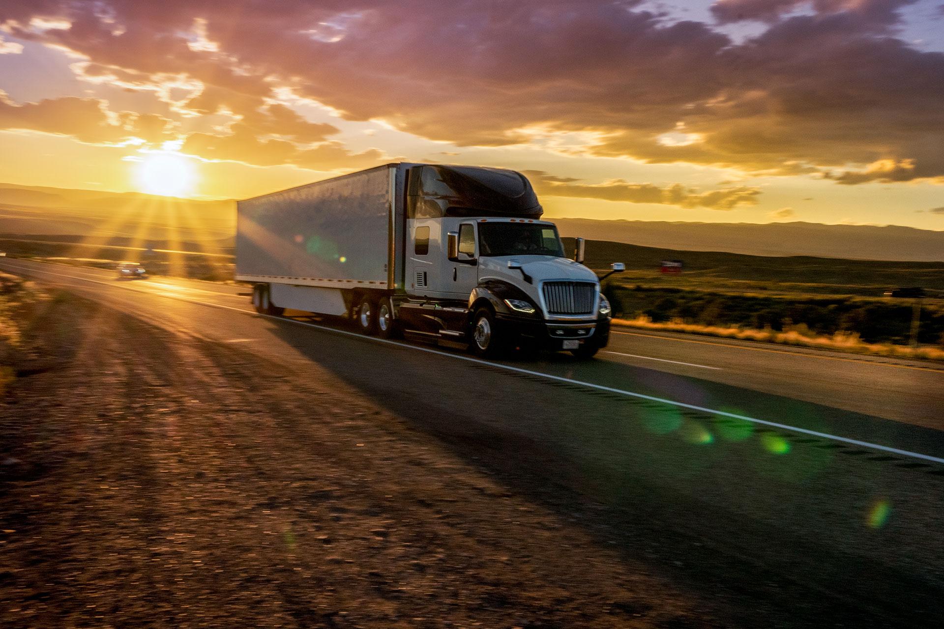 semi truck sunrise